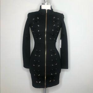 ACTIVE USA L/S Mock Neck Zip Up Bodycon Dress
